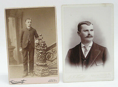 Cabinet Card Vintage Photo Young Men c1880's by Kuntz Syracuse NY: Lot of 2