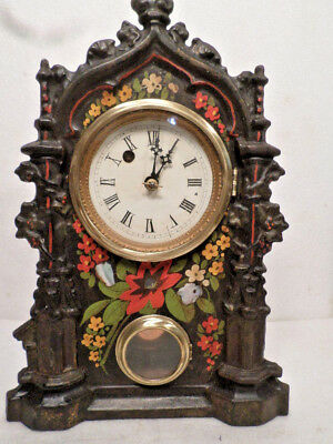 Early 3/4 Size Floral Gothic Cast Iron Front Clock--1860's American Clock Co.