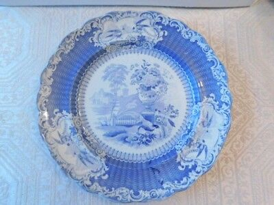 Antique Staffordshire Blue Transferware Plate with Pheasants and Urn
