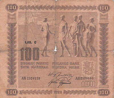 100 Markkaa Vg Banknote From Finland 1939!pick-73