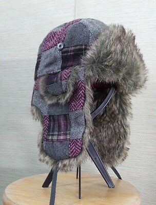 American Eagle Outfitters Trapper Hat Pink Gray Plaid Aviator Ear Flaps  Adult 8238c470ba66