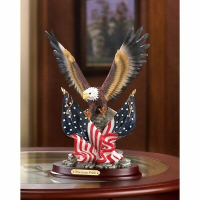 Patriotic Eagle with American Flag on Wood Base Statue Figurine