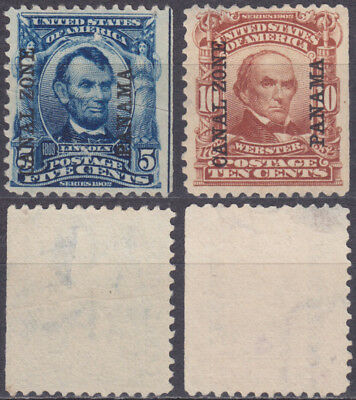 PANAMA CANAL ZONE 1904 provisionals USA Lincoln+Webster Series 1902 Mi/Sc 6+8 RR