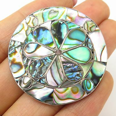 Vtg Mexico 925 Sterling Silver Abalone Shell Floral Design Pin Brooch / Pendant