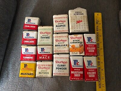 14 old spice tins,+ 1,McCormick's,Durkee,French's,old,good,used,rare,variety++