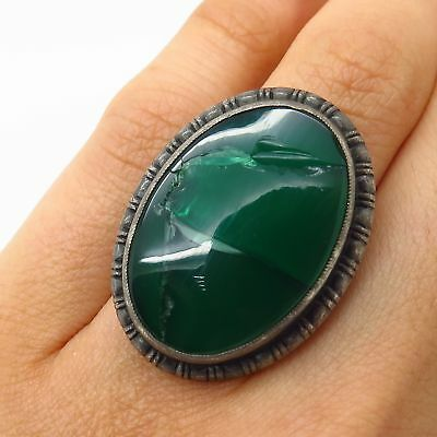 Antique Victorian 925 Sterling Silver Large Green Chalcedony Wide Ring Size 4.5