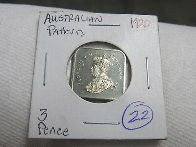 Australia 1920 Pattern 2 Pence Silver Coin #22