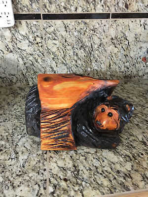 Adorable Hand Carved Bear in a log one of a kind Carved from Western Red Cedar