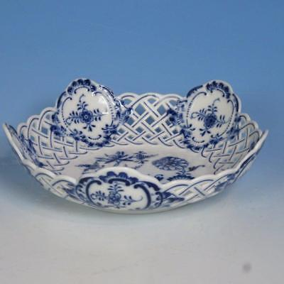 Meissen Crossed Swords - Blue White Onion - Reticulated Bowl