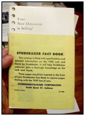 1960 Studebaker Fact Book 92 page insert w color chips Hawk Lark perfect orig