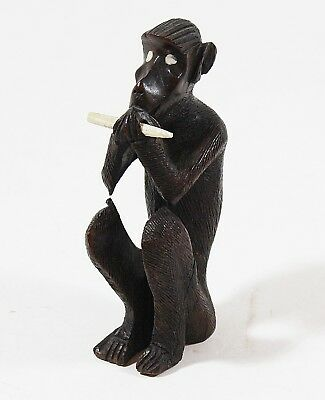 Monkey & Bone Hand Carved African sculpture WOOD NATIVE Carving Art AFRICA