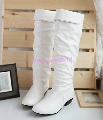 Fashion Girl Booties Women Knee High Boots Winter Warm Handmade Flat Heels Shoes