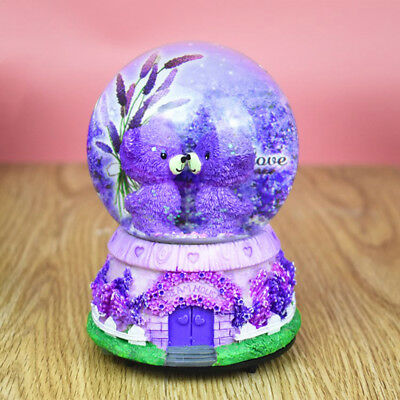 LED Bear Fairy Musical Box Snow Globe Valentine Kids Birthday Gift Lavender AU