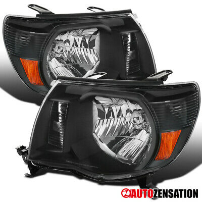 For 2005-2011 Toyota Tacoma Pair Black Clear Headlights Head Lamps Left+Right