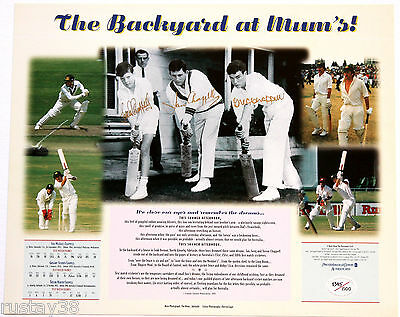 Chappell's  Backyard At Mums Triple Hand Signed Limited Edition Print Bradman