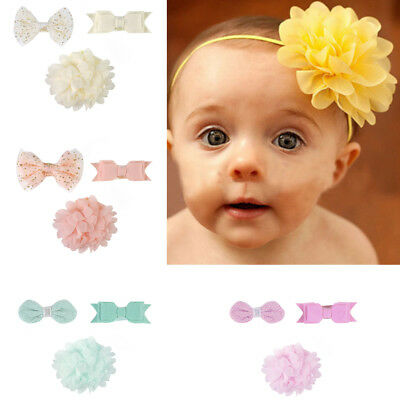 Lots 3pcs Newborn Girl Bow Headband Ribbon Elastic Baby Headdress Kids Hair Band