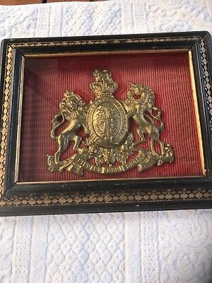 Early C20th Gilt Brass Coat Of Arms In Glazed Frame 27cm Wide X23