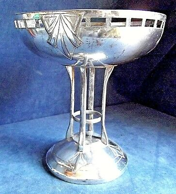"GOOD Large 10"" ~ ART DECO ~ SILVER Plated ~ Cake STAND / Tazza ~ c1935 Pringle"