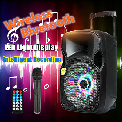 Portable PA Speaker System Rechargeable Amplifier Bluetooth USB SD + Microphone