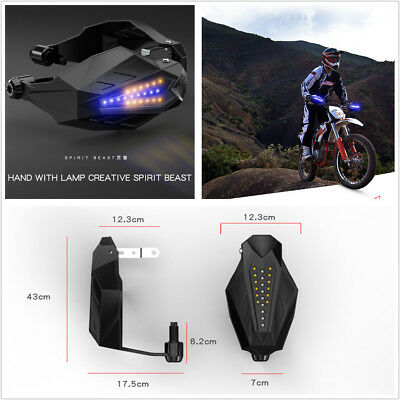 Pair Motorcycle Handguard Baffle Grip Protection Windshield Hood With LED Light