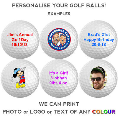Personalised Photo, Logo Or Text Custom Golf Balls White 12 Pack