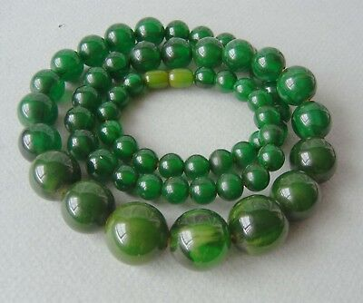 ancien COLLIER ART DÉCO BAKELITE vert marbré (TEST+) old green marbled NECKLACE