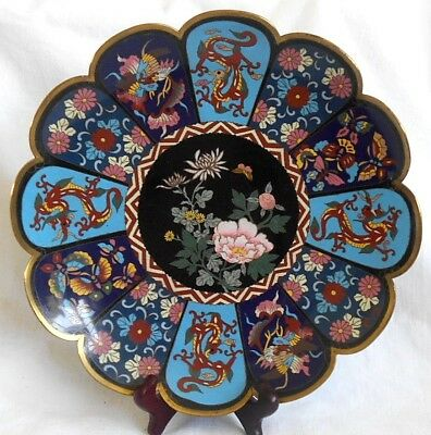 C19Th Japanese Cloisonne Dish With Various Picture Panels And Flowers