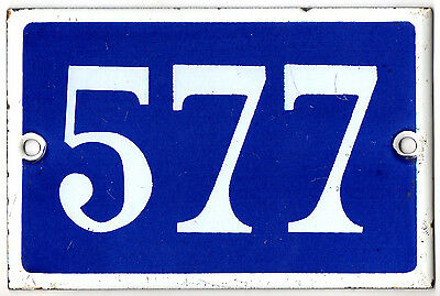 Old blue French house number 577 door gate plate plaque enamel steel metal sign