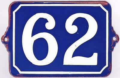 Large old blue French house number 62 door gate plate plaque enamel wall sign