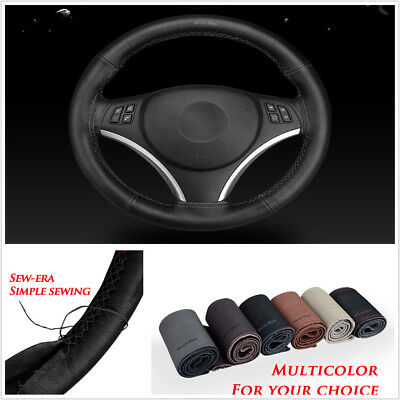 Car Steering Wheel Cover Hand Sew-era Perforated Real Leather Black w/Black Line