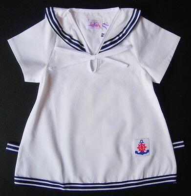 BABY GIRL White Cotton Short Sleeved SAILOR DRESS Baby Girls Night Wear Pyjama
