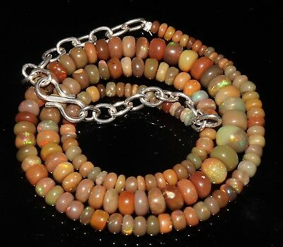 """59 Tcw 3-6.5Mm 16""""natural Genuine Ethiopian Welo Fire Opal Beads Necklace-F31344"""