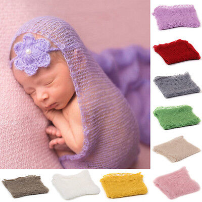Newborn Baby Mohair Crochet Knit Wrap Cloth Photography Props Baby Photo Cute TY