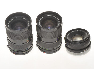 Canon FD, 3 lenses 50/1.8, 2x 35-70/4, not working, for parts
