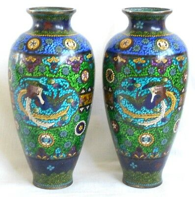 A Pair Of Very Good Quality C19Th Japanese Cloisonne Vases