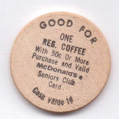 Mcdonald's-Good For One Reg. Coffee--Wooden Nickel-One 1/2 Inches Width