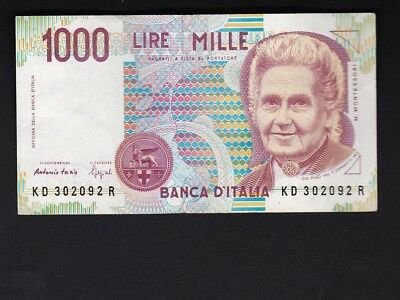Italy 1990 One Thousand Lire Bank Note = Circulated = Nice Shape