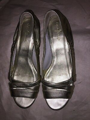 Cole Haan Gold Leather Open Toe Low Wedge Pumps Size 7.5B