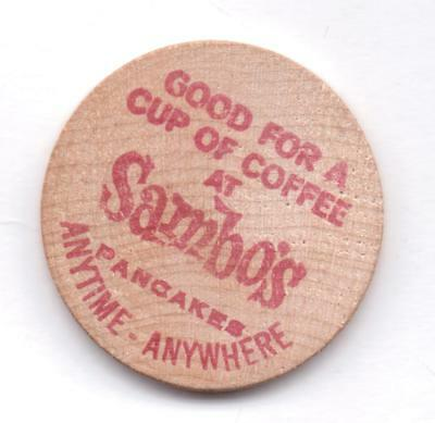 Good For A Cup Of Coffee At Sambo's-Wooden Nickel-One 1/2 Inches Width-Vintage