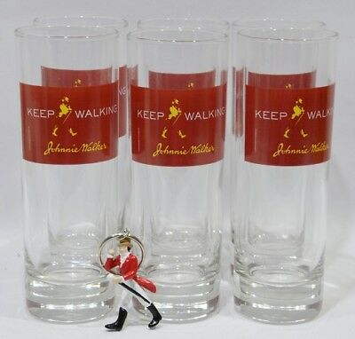 JOHNNIE WALKER Whisky 6 Verres tube bandeau rouge + porte-clé Dandy NEUF