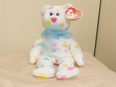 Kissme 2002 white TY Beanie Babie Valentine 8in bear with hearts 3 up 4504