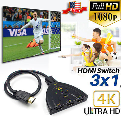 1X3 Full HD 1080P 4K*2K HDMI Switch 3 IN 1 Out Hub Splitter Adapter for DVD PS3