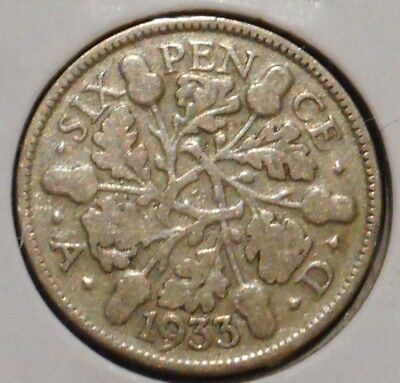 British Silver Sixpence - 1933 - King George V - $1 Unlimited Shipping