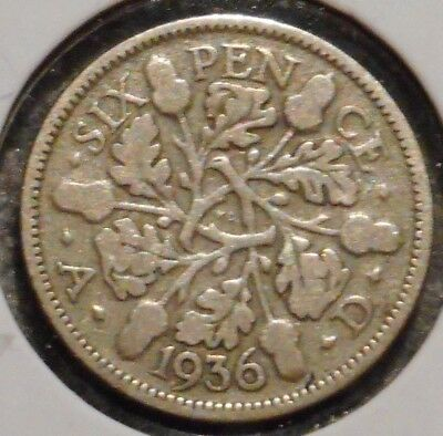 British Silver Sixpence - 1936 - King George V - $1 Unlimited Shipping