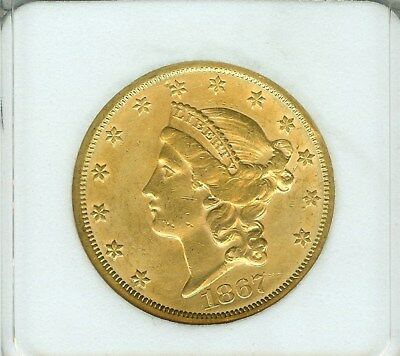 1867-S Liberty Head Gold $20 Uncirculated+    Very Rare This Nice!