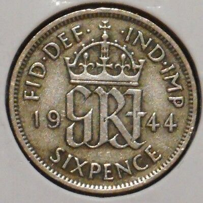 British Silver Sixpence - 1944 - King George VI - $1 Unlimited Shipping