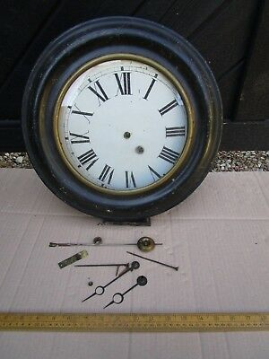 Antique Victorian round wall clock for refurbishment - Brass movement 1012  72