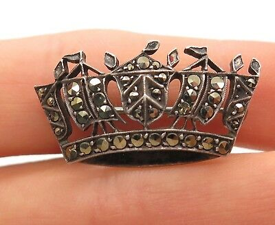 Antique Victorian Sterling Silver Marcasite Gemstone Royal Crown Pin Brooch