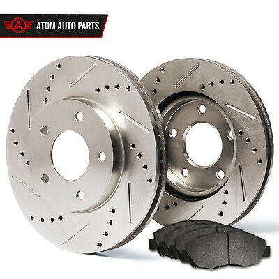 2013 2014 2015 Ford Taurus Non SHO (Slotted Drilled) Rotors Metallic Pads R