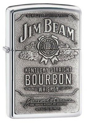 Zippo ZO16928 Spirits Lighter Jim Beam Pewter Emblem High Polish Chrome The